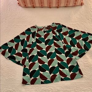 Patterned Blouse with billowy sleeves